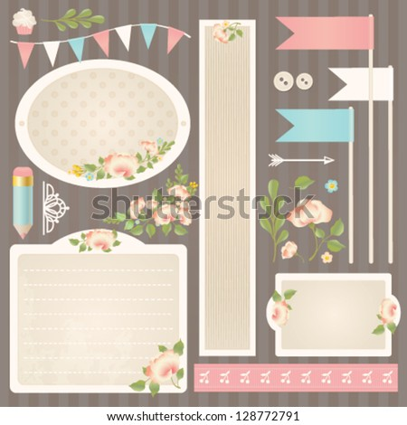 Shabby Chic Design Elements Collection Vector Set Stock