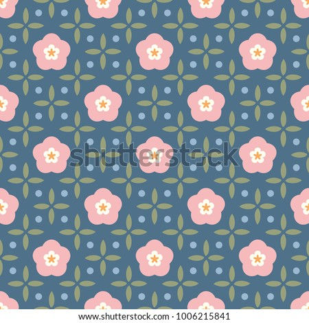 Shabby Chic Floral Pattern Printing Block Of Pink Flowers And Mini Leaves Oriental Seamless