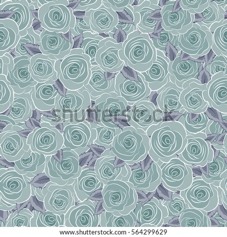 Shabby chic illustration. Vector roses seamless pattern. Retro background with blue roses.