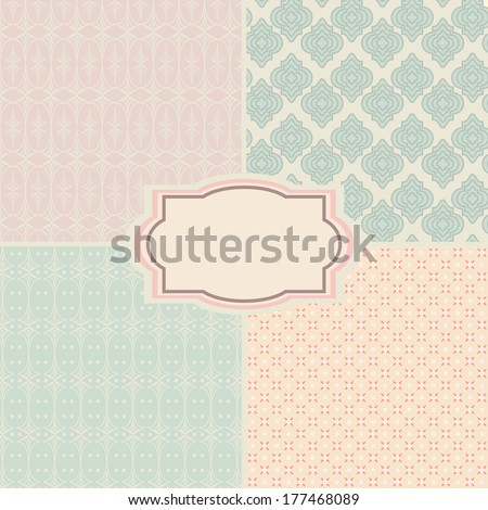 Shabby chic patterns and seamless backgrounds. Ideal for printing onto fabric and paper or scrap booking.