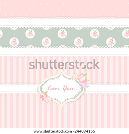 shabby chic. provence style. background - stock vector
