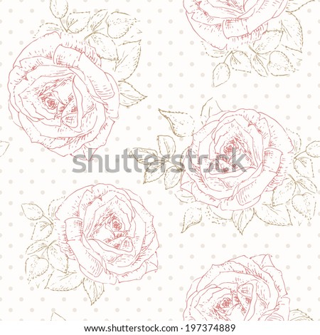 Shabby chic rose pattern with Polka dot. Floral seamless background