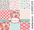 Shabby Chic Rose Patterns and seamless backgrounds. Ideal for printing onto fabric and paper or scrap booking. - stock