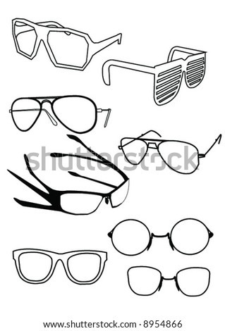 Shades and glasses - stock vector