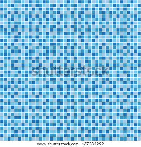 Shades of blue, random tile background, seamless pattern. - stock vector
