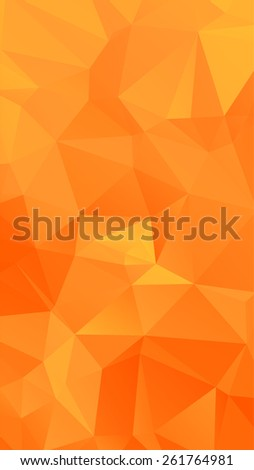 Shades of orange abstract polygonal geometric background (low poly). Vector illustration - stock vector