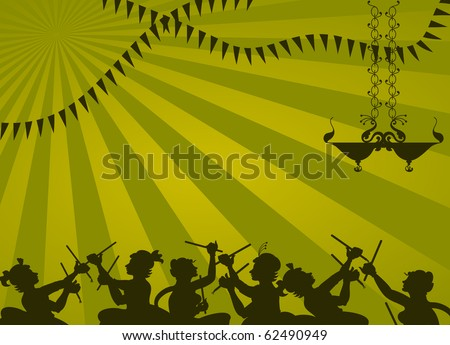 Shadow art graba dancer - stock vector