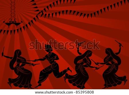 Shadow art graba dancer in sun set - stock vector