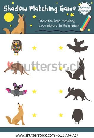 shadow matching game nocturnal animals preschool stock vector 613934927 shutterstock. Black Bedroom Furniture Sets. Home Design Ideas