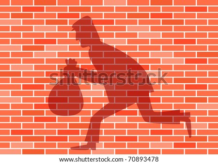 Shadow on the brick wall - stock vector