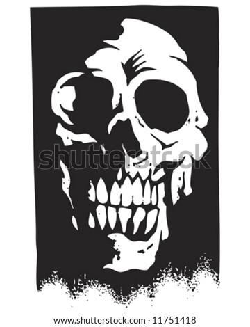 shadow skull silhouette vector - stock vector