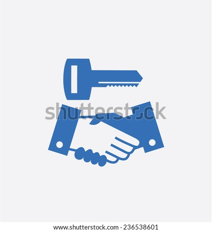 Shake a hand with key - stock vector