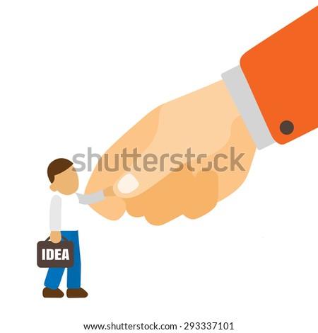 Shake hand of big hand like big corporation recruitment best idea worker. - stock vector