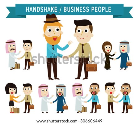 shaking hand.  businessman people.partner.business concept.flat icons vector cartoon character design.illustration.on white background.isolated  - stock vector