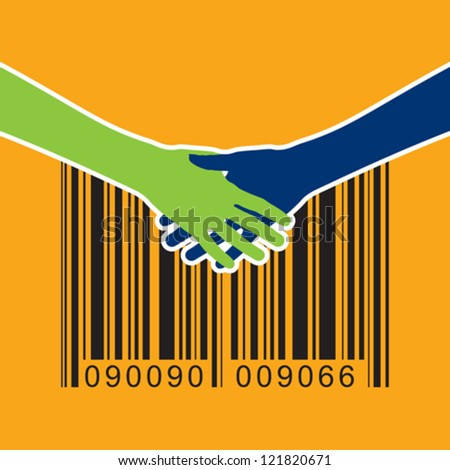 shaking hand with bar-code - stock vector