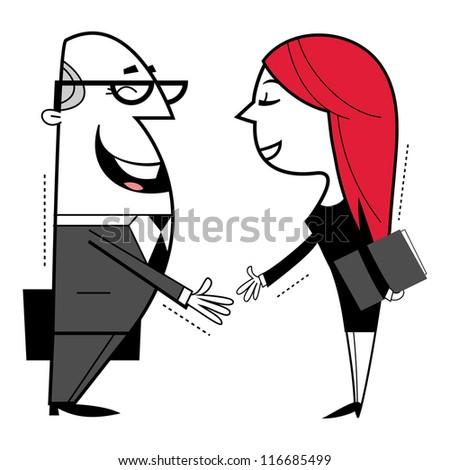 Shaking hands cartoon illustration. - stock vector
