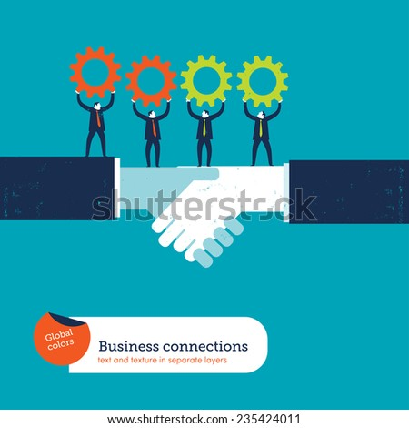 Shaking hands with businessmen and gears. Vector illustration Eps10 file. Global colors. Text and Texture in separate layers. - stock vector