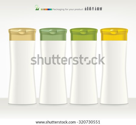 Shampoo, Gel Or Lotion White Plastic Bottle. Ready For Your Design. Product Packing  - stock vector