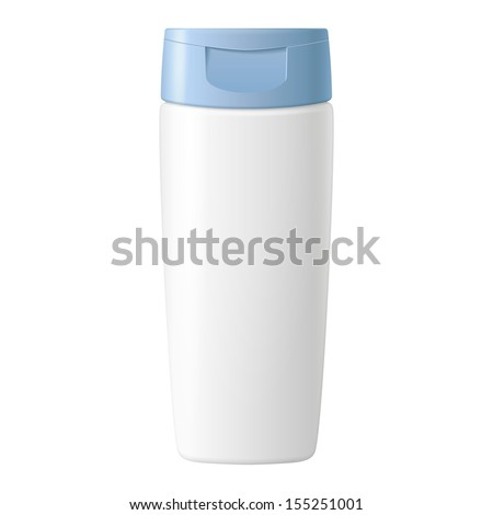 Shampoo, Gel Or Lotion White Plastic Bottle With Blue Lid On White Background Isolated. Ready For Your Design. Product Packing Vector EPS10  - stock vector
