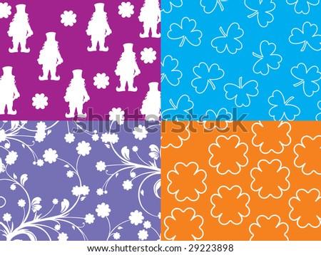 shamrock background with leprechaun silhouette - stock vector