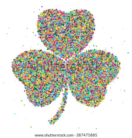 shamrock consisting of colored particles. Vector illustration, EPS 10
