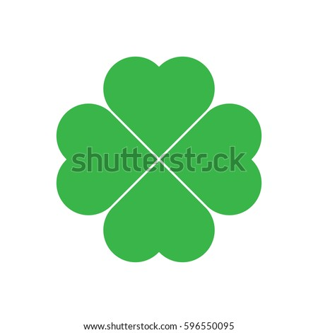 Shamrock - green four leaf clover icon. Good luck theme design element. Simple geometrical shape vector illustration.