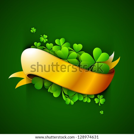 Shamrock leaves with golden ribbon. - stock vector