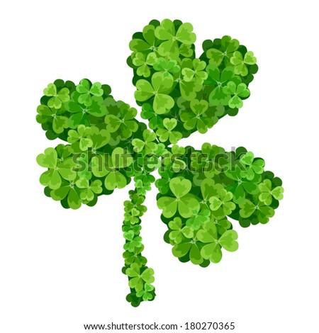 Shamrock made of green shamrocks. Vector illustration. - stock vector