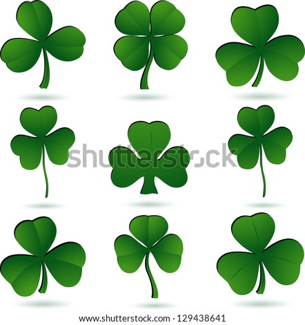 Shamrock set on white. Vector - stock vector