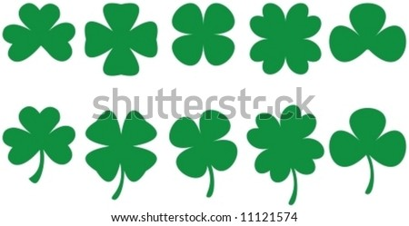 SHAMROCKS - Shamrock shapes for St. Patrick's Day designs. Vectorial drawing.