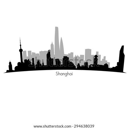 Shanghai  black Skyline background. Eps 10 vector - stock vector