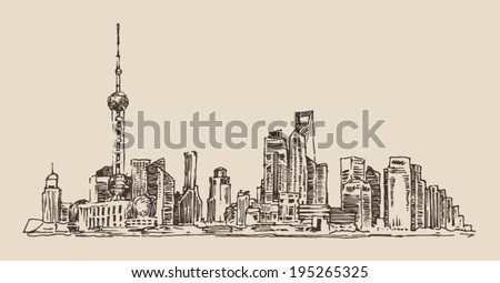 Shanghai, China, city architecture, vintage illustration, engraved retro style, hand drawn, sketch - stock vector