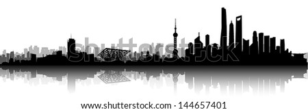 Shanghai City Skyline Silhouette vector artwork - stock vector