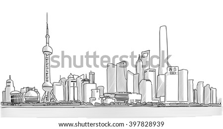 Shanghai Downtown Panorama Freehand Drawing with Skyscrapers and River Yangtze in Foreground - stock vector