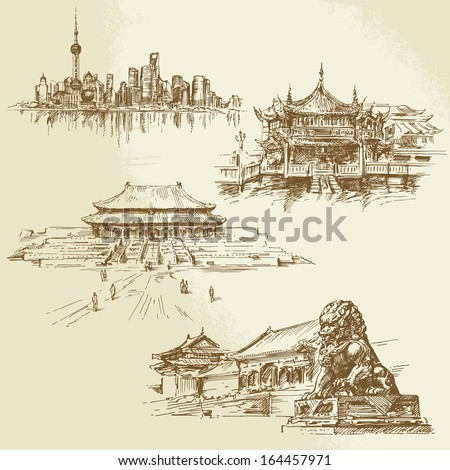 Shanghai, Peking - chinese heritage - hand drawn set - stock vector