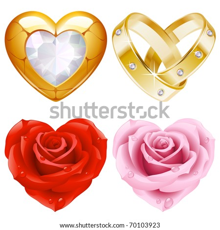 Shape of heart set 4. Golden jewellery and roses - stock vector