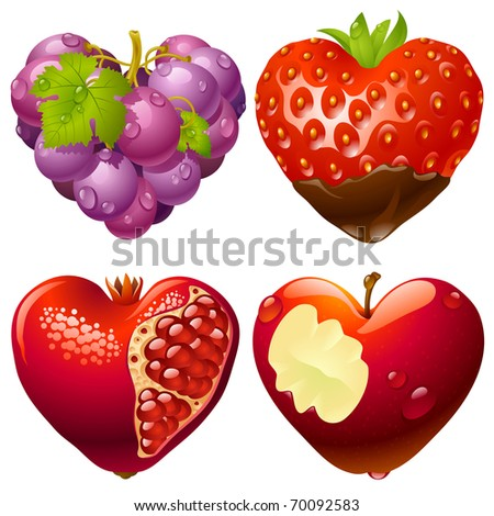 Shape of heart set 2. Strawberry, grapes, pomegranate and apple - stock vector