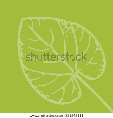 shape of leaf on green background - stock vector