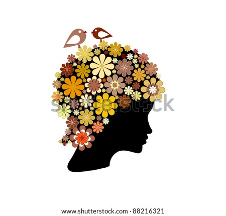 Shape of woman head covered with colorful flowers and birds