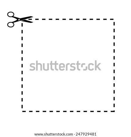 Shape to cut off using scissors. Vector illustration. - stock vector