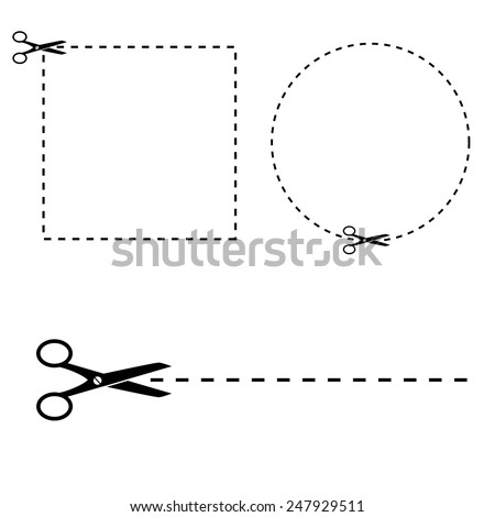 Shapes cut out by scissors. Vector art. - stock vector