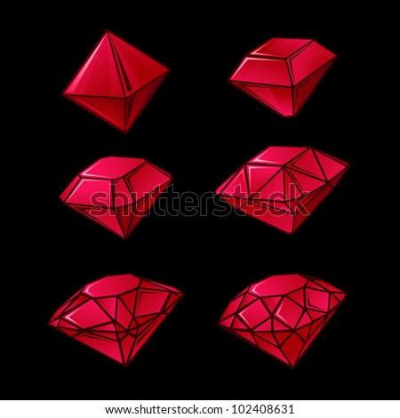 Shapes of diamond - stock vector