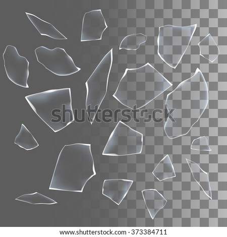 Shards Of The Broken Glass And Cracks With Transparency Vector Elements Cracked