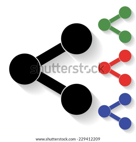 share icon - black and colored (green, red, blue) illustration with shadow - stock vector