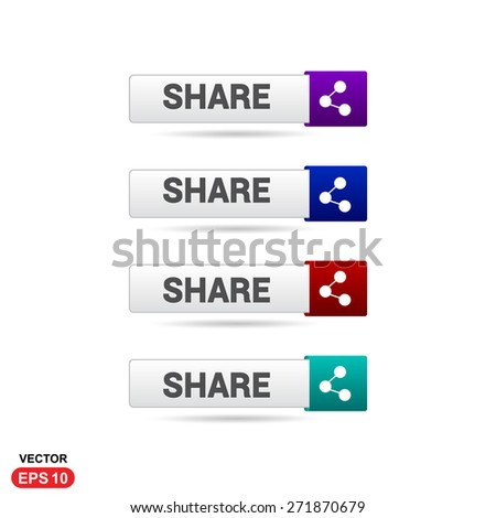 Share Icon Button. Abstract beautiful text button with icon. Purple Button, Blue Button, Red Button, Green Button, Turquoise button. web design element. Call to action gray icon button - stock vector