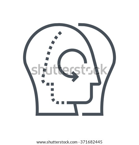 Share knowledge icon suitable for info graphics, websites and print media and  interfaces. Line vector icon. Human face, head, line vector icon. - stock vector