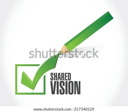 shared vision check mark illustration design over a white background - stock vector