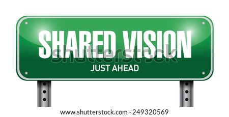 shared vision road sign illustration design over a white background - stock vector