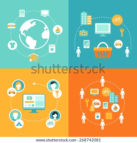 Sharing Economy and Collaborative Consumption Concept Illustrations Set - stock vector