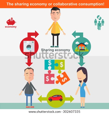 Sharing economy and smart consumption concept. Vector illustration in flat style. - stock vector